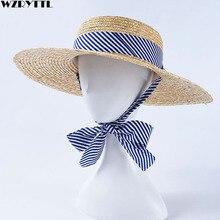 2019 ใหม่ผู้หญิงกว้าง Brim ข้าวสาลีฟางหมวกฤดูร้อน Sun หมวกน้ำเงินลาย RIBBON TIE Boater หมวก vocation DERBY หมวก