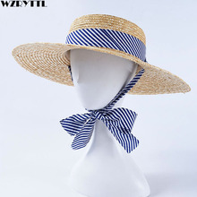 2019 New Women Wide Brim Wheat Straw Hats Summer Beach Sun Hat with Navy Blue Striped Ribbon Tie Boater Hat Vocation Derby Cap