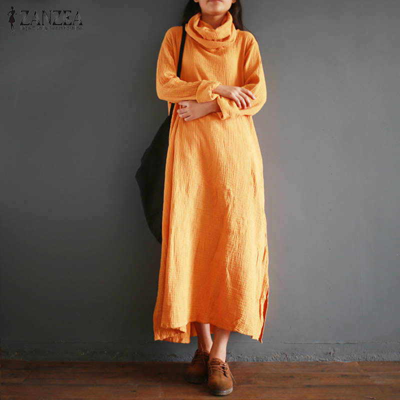 eed450d6bc ... 2018 ZANZEA Fashion Women Long Sleeve Linen Kaftan Vestido Autumn Casual  Loose Solid Cotton Party Split