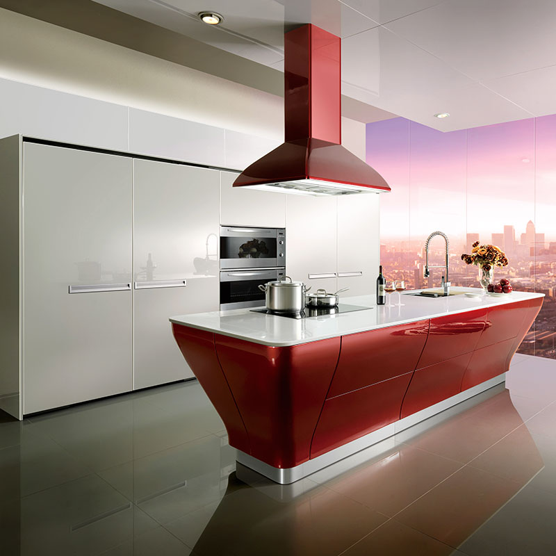 Hot Sale High Gloss Lacquer Kitchen Cabinet White Color Modern Kitchen Furniture