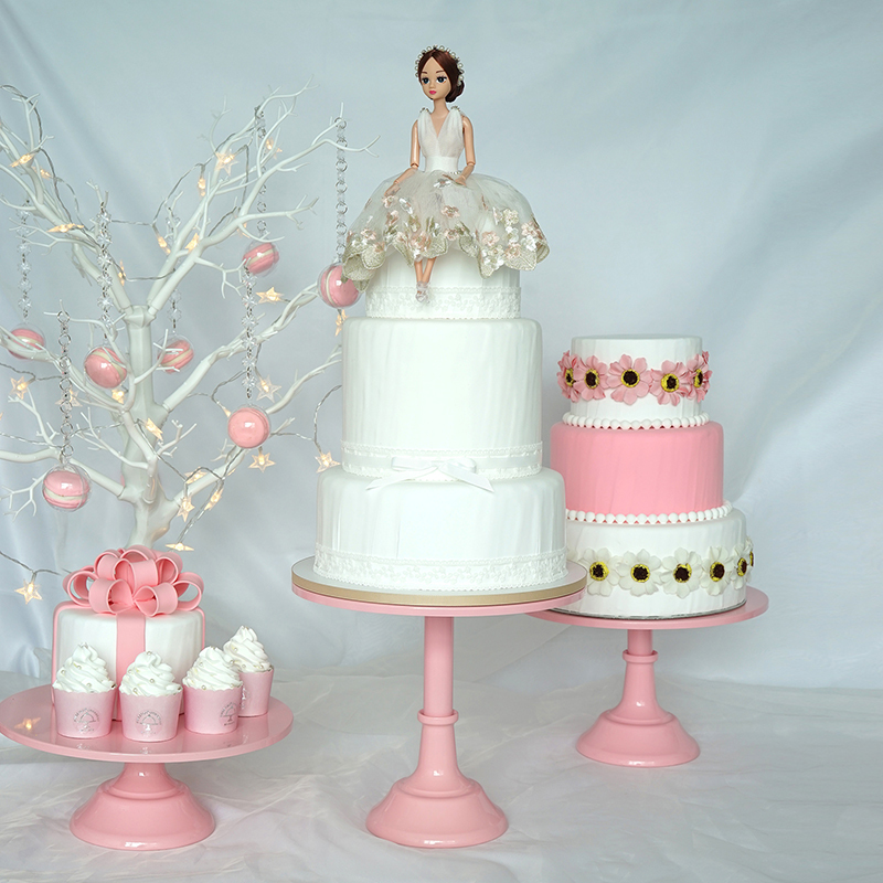 12inch High foot fondant cake stand pink baby shower cake pops table decorating tools dessert candy bar party supplier