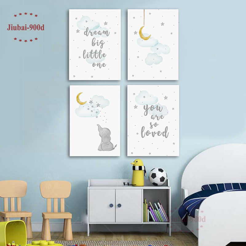 Set of 4 Cartoon Kids Room Decoration Animal Posters and Prints Canvas Painting Nursery Wall Art Cute Elephant Picture NUR12