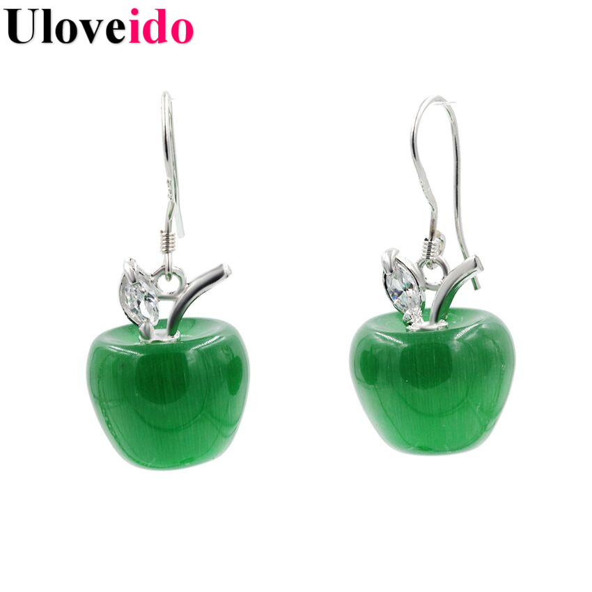 Uloveido 8 Colors Green Apple Long Earrings for Women Statement Earings Vintage Jewelry Earing Pendientes Christmas Gifts YL007