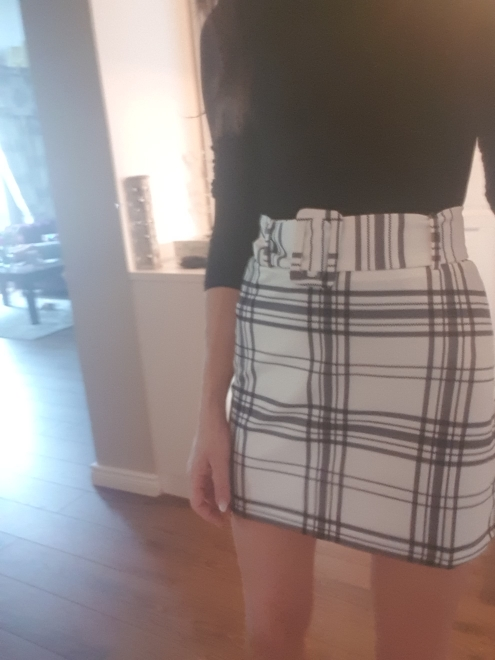 Ladies White Buckle Belted Plaid Skirt Korean Style Women Preppy High Waist Skirt Stretchy Spring Summer Mini Skirt photo review
