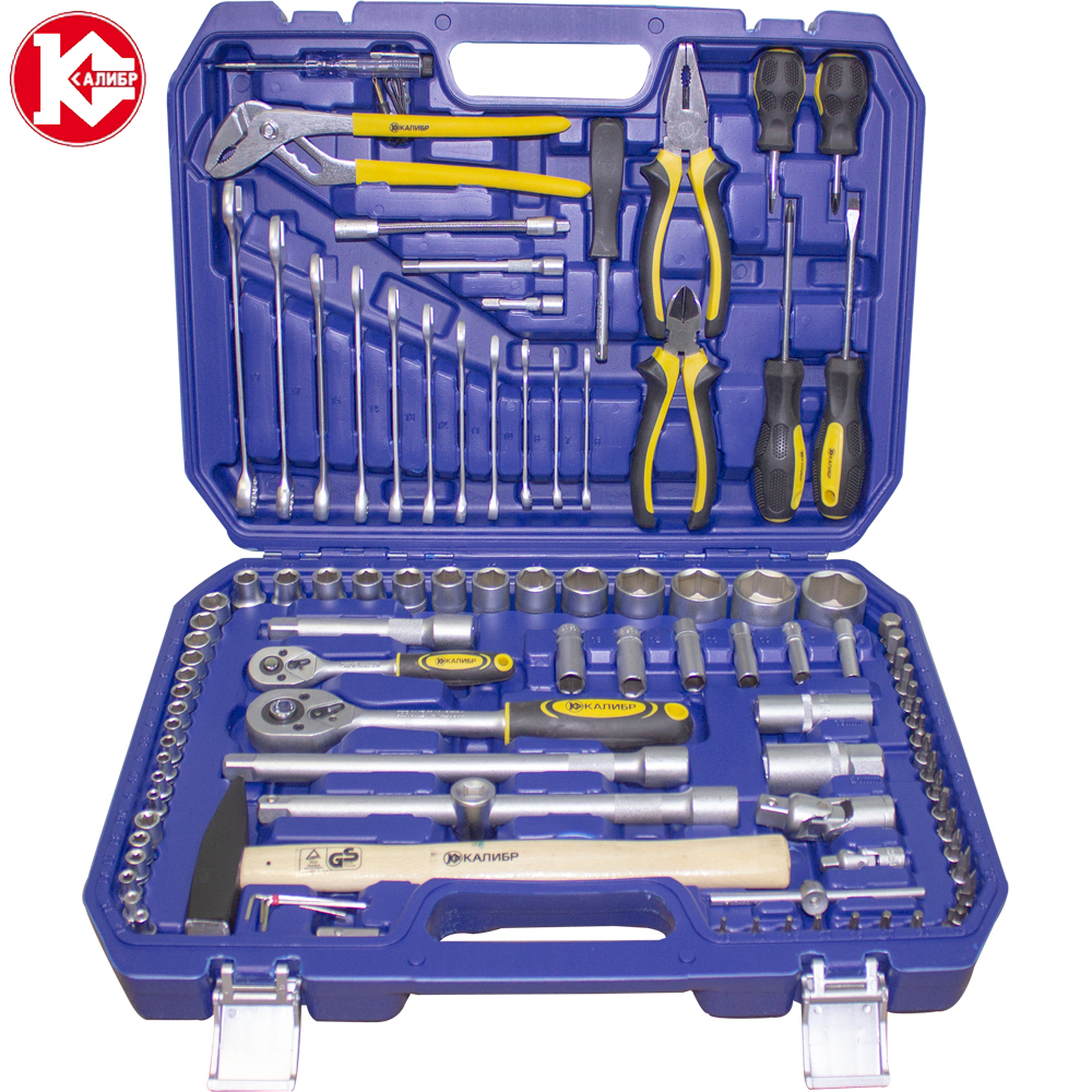 Cr-v hand tools set Kalibr UNSM-99, 99pc Spanner Socket Set Car Vehicle Motorcycle Repair Ratchet Wrench Set veconor 8 10 12 13 15 17 19mm ratchet spanner combination wrench a set of keys gear ring tool ratchet handle chrome vanadium