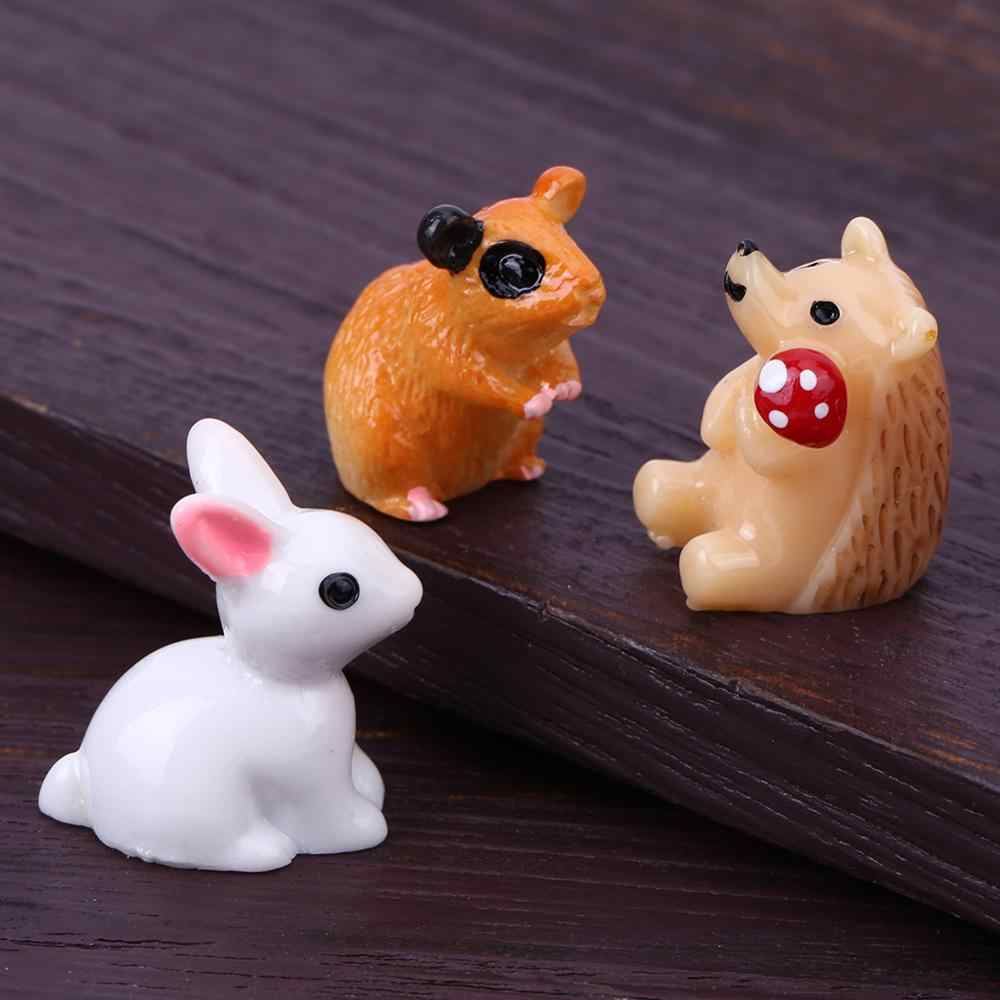 1PC-7PCS Mini Rabbit Garden Ornament Miniature Figurine Plant Pot Fairy Cute Synthetic Resin Hand-painted Mini Rabbit Decoration