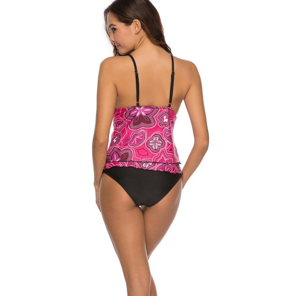 Бикини купальник женский розовый цветочный принт Maillot De Bain Femme купальный костюм с пуш-ап женский