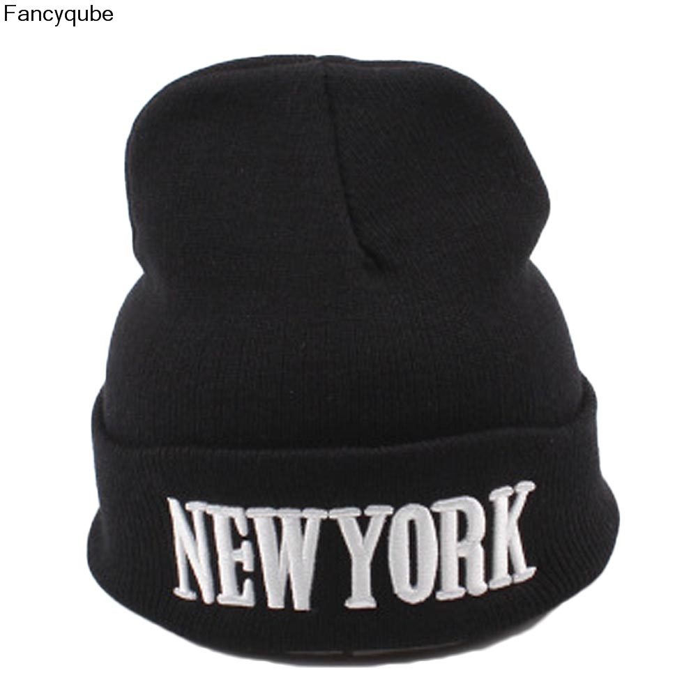 Unisex Casual Letter New York 3D knitted Warm Hiphop Beanie Skullies Winter Fashion Hats for Men Women Acrylic Adult Gorros 2016 new fashion letter gorros hats bonnets
