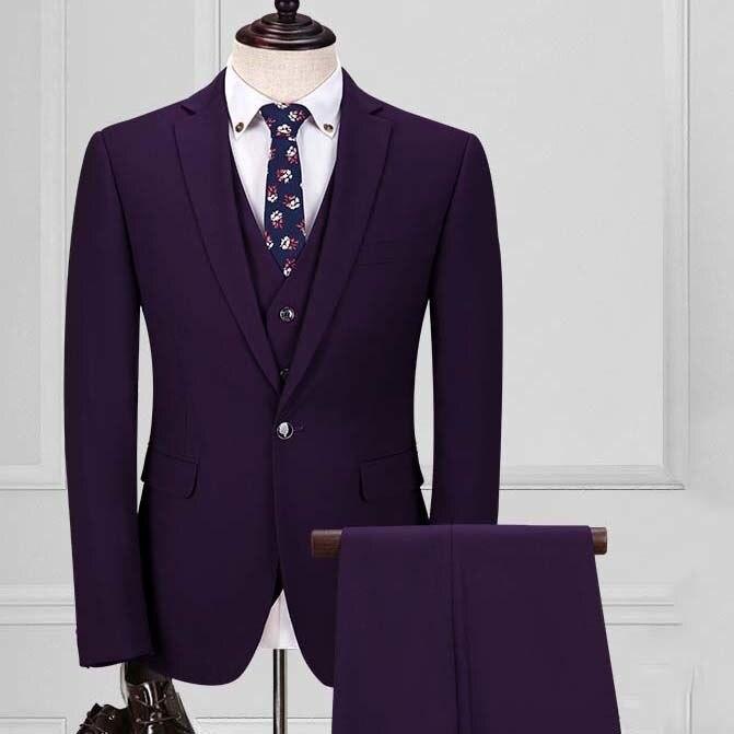 custom made men suits silm three piece purple red one button Korea groom wedding dress suits bridgegroom suit with pant vest B16