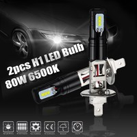 2pcs 12 24V DC H1 LED Bulbs 80W 800LM Car DRL Driving Fog Lamp White Light