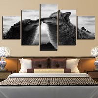 Abstract Poster 5 Piece Animal Black Wolves Kiss Canvas Print Pictures Frame Decorative Wall Art Home