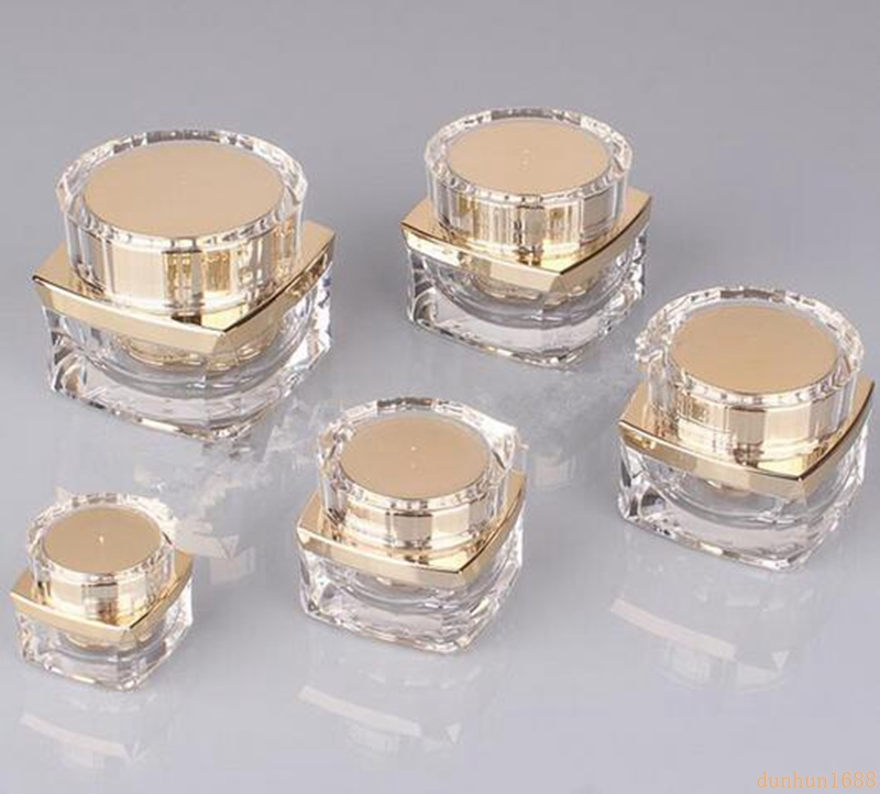 200pcs 5g 10g 20g 30g 50g Top Grade Clear Acrylic Empty Bottle jar Eye Gel Lipstick Sample Empty Cosmetic Containers #448