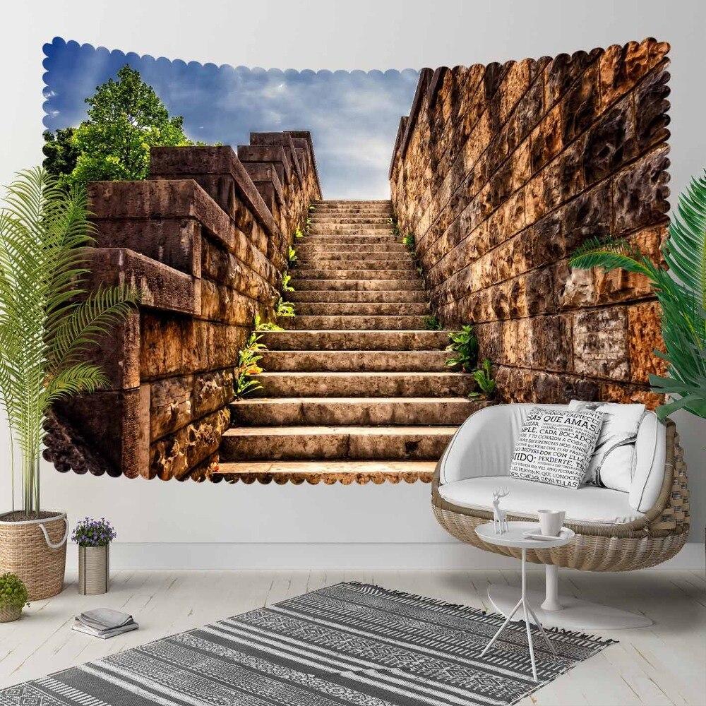 Autre marron Vintage authentique ethnique pierre escaliers 3D impression décorative Hippi bohème tenture murale paysage tapisserie mur Art