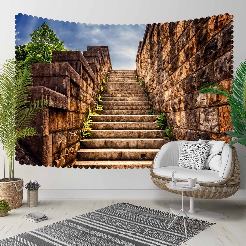 Else Brown Vintage Authentic Ethnic Stone Stairs 3D Print Decorative Hippi Bohemian Wall Hanging Landscape Tapestry Wall Art