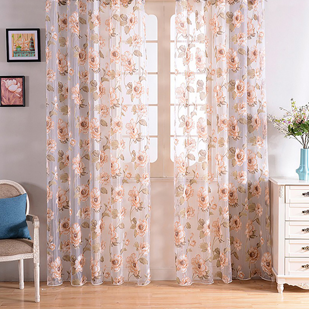 Fashion Camellia Flower Window Curtain Sheer Divider Panel Home Bedroom Decor