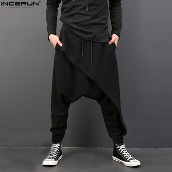 2020 Brand Cool Mens Gothic Punk Style Harem Pants Black Hip-hop Wear Loose  Pants DrawString Baggy Dancing Crotch Trousers 1