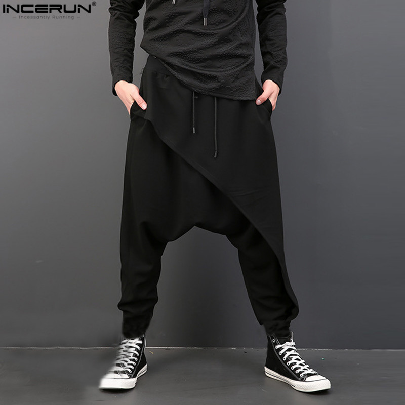 2019 Brand Cool Mens Gothic Punk Style Harem Pants Black Hip-hop Wear Loose  Pants DrawString Baggy Dancing Crotch Trousers