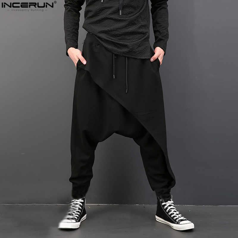 dark gray baggy trousers drop crotch pants sweatpants tracksuit harem pants