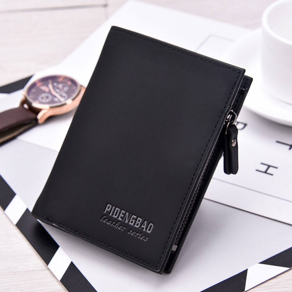 Fashion Casual Frosted Faux Leather Cash Card Photo Holder Short Wallet Men Gift