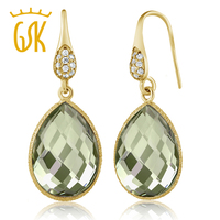 13 00 Ct Green Amethyst Pear Shape Gold Plated Silver Dangle Earrings