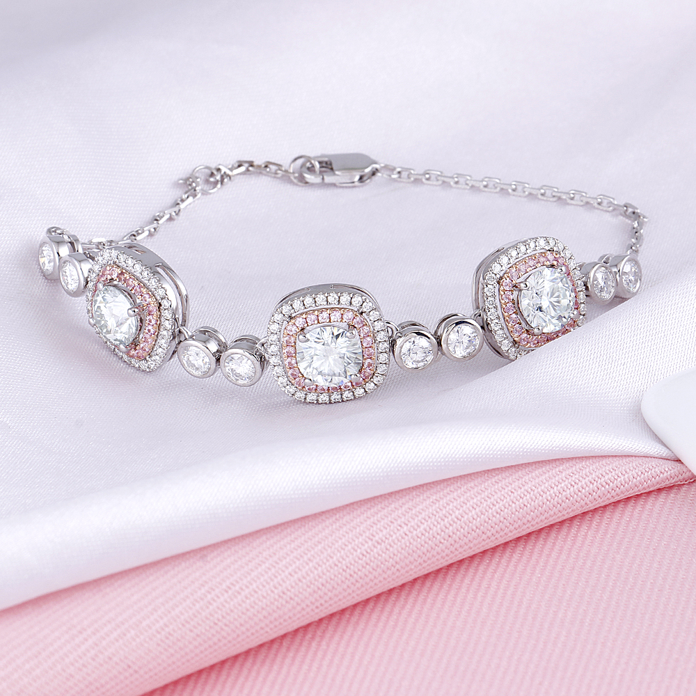 Image 4 - Double Halo 14K Two Tones Bracelet 6MM Cushion Cut Slight Blue Moissanite Rose Gold and White Gold with Pink Sapphire AccentsBracelets & Bangles   -