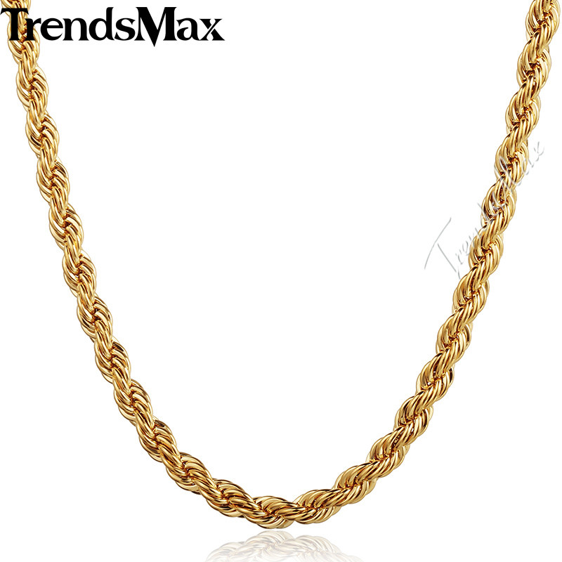 Trendsmax Womens Men's Necklace Gold Rope Chain Necklace For Woman Male Jewelry Accessories Gifts Dropshipping Wholesale KGN249