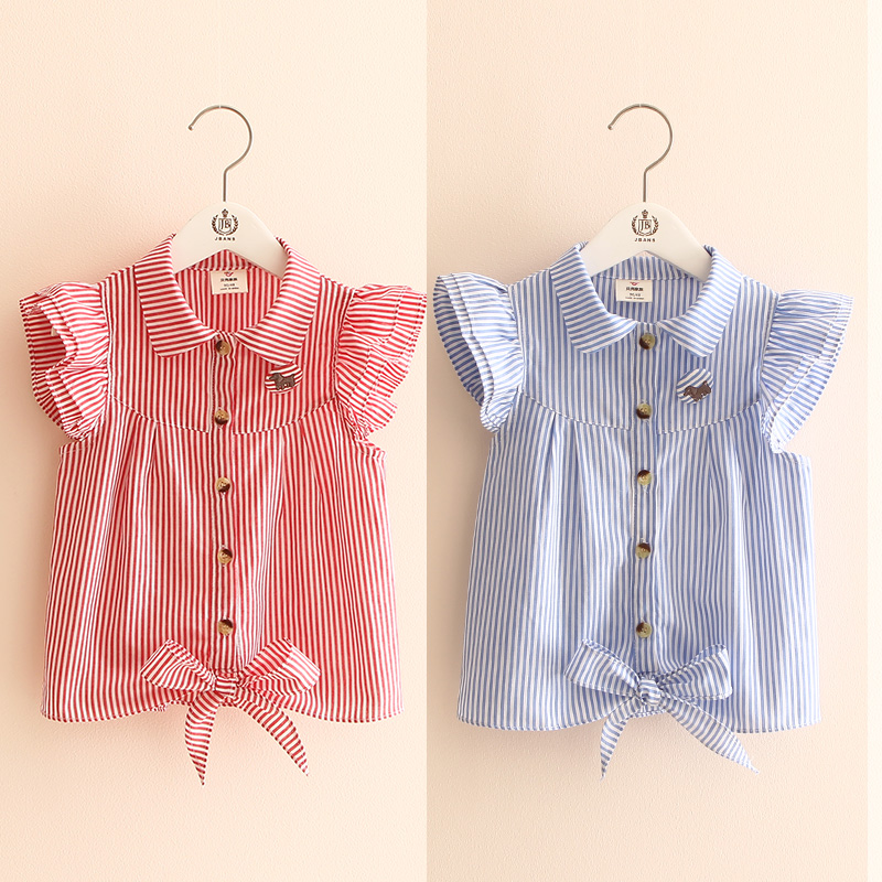 2018 Hot Summer Cute Girls Birthday Clothing Stripe Butterfly Sleeve Striped Dog Botton Kids Girl Short Fly Sleeve   Blouse     Shirt