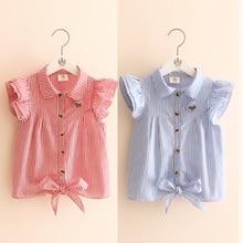 2020 Hot Summer Cute Girls Birthday Clothing Stripe Butterfly Sleeve Striped Dog Botton Kids Girl Short Fly Sleeve Blouse Shirt