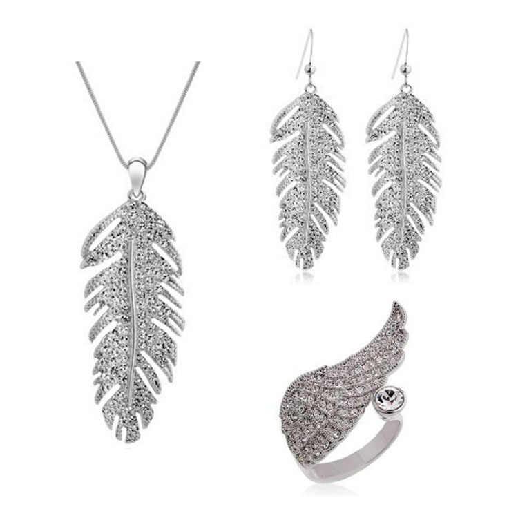 2015 nueva llegada collar pendientes conjunto de anillo de lujo KC Color amarillo cristal africano joyería conjunto para mujeres compromiso regalos de fiesta