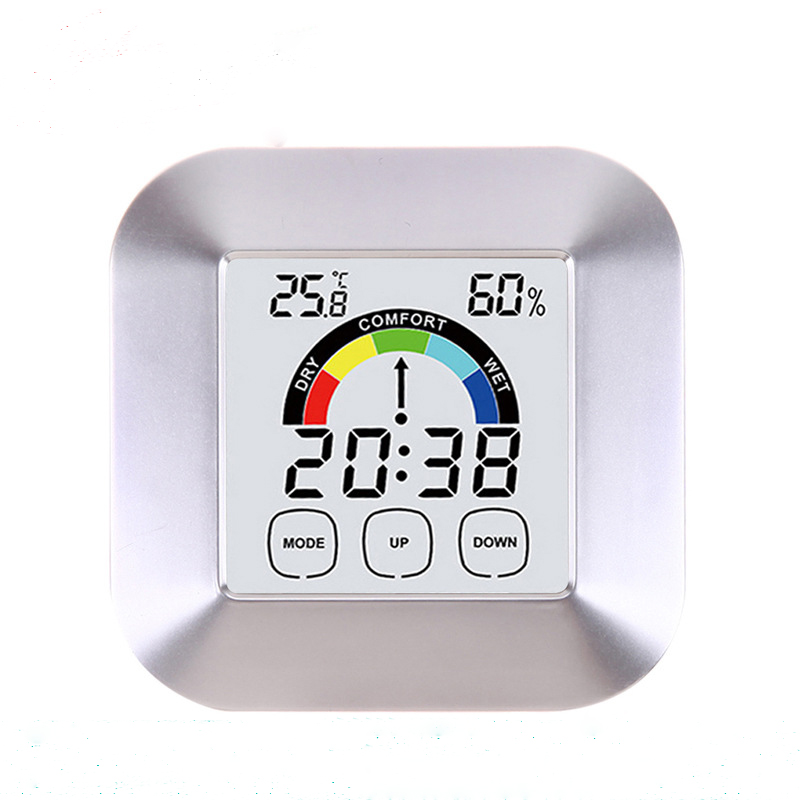 DANIU Digital Household Colorized Touch Screen Clock Temperature Humidity Index Display Alarm Indoor Outdoor Tester