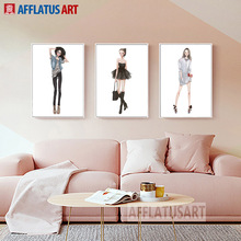 AFFLATUS Fashion Girl Nordic Poster Figure Canvas Painting Wall Art Posters And Prints Wall Pictures For Living Room Home Decor цена