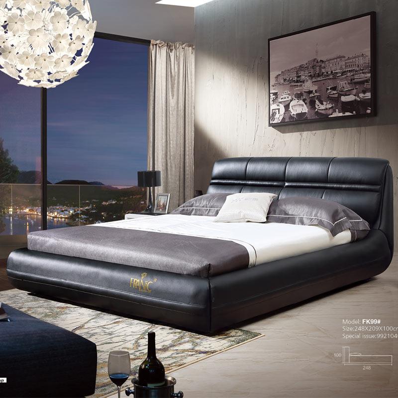Black Modern True Leather King Size Bed Designs Bedroom Sets