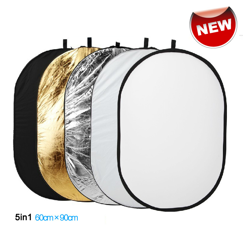 60x90cm 24''x35'' 5 In 1 Multi Disc Photography Studio Photo Oval Collapsible Light Reflector Handhold Portable Photo Disc