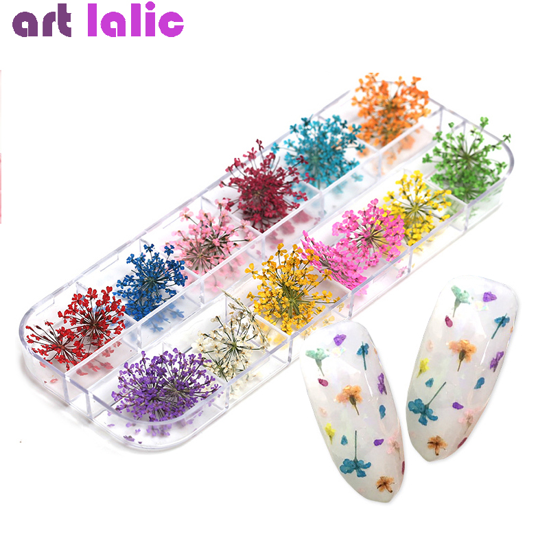 36Pcs 12 Patterns 3D Dry Flowers Stickers Real Dried Flower Nail Art Decoration Tips DIY Manicure Tools With Box