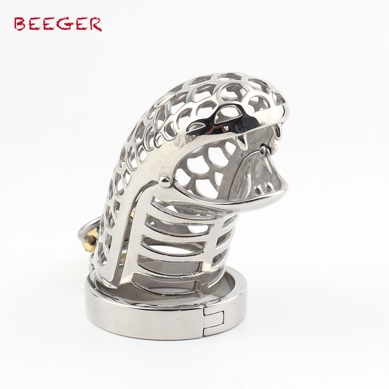 BEEGER Lion Pattern Cock Cage & Spiked Ring, Chastity Device for Men fashionable pink cartoon lion and handgun pattern 9 5cm width tie for men