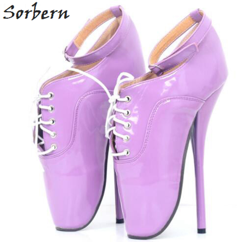 Sorbern 2018 <font><b>Sexy</b></font> Ballet <font><b>High</b></font> <font><b>Heel</b></font> <font><b>18cm</b></font> Pumps Shoes Patent Leather Lace Up Buckle Strap Custom Color Ladies Pumps Cosplay Pumps image