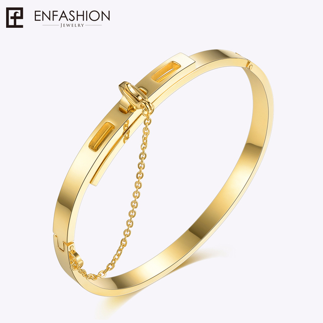 Enfashion Safety Chain Cuff Bracelet Noeud armband Gold Color Bangle Bracelet Fo