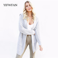 YIFWFAN Brand 2017 Fashion Knitted Cardigan Female Long Sleeve Pocket Loose Autumn Winter Sweater Outerwear Coat