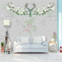 Retro European elk elegant floral living room TV background wall Custom wallpaper mural