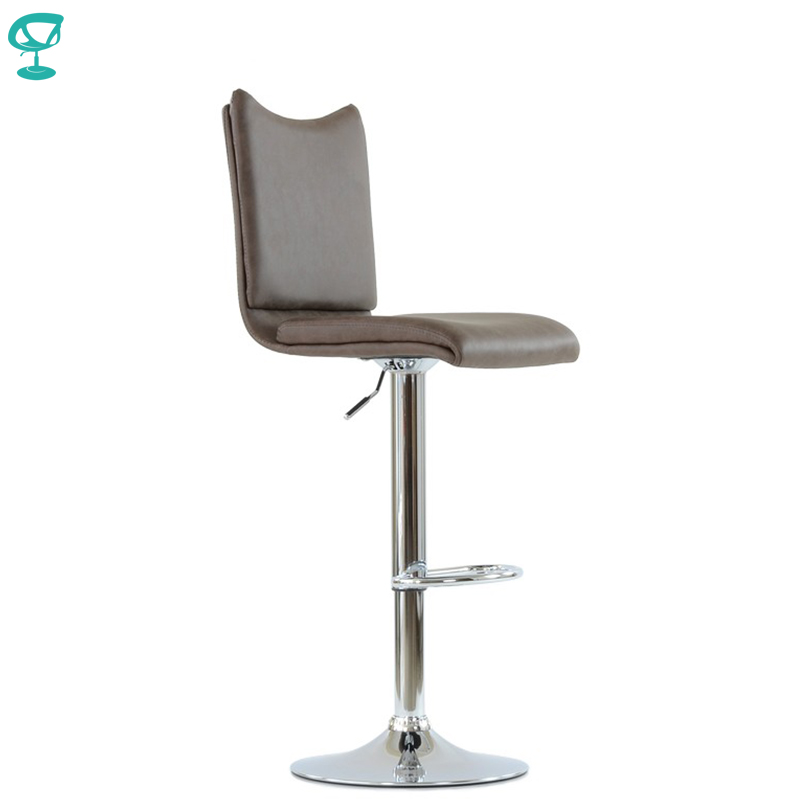N99CrPuBrown Barneo N-99 Eco-Leather Kitchen Breakfast Bar Stool Swivel Bar Chair Brown Color Chrome Leg Free Shipping In Russia