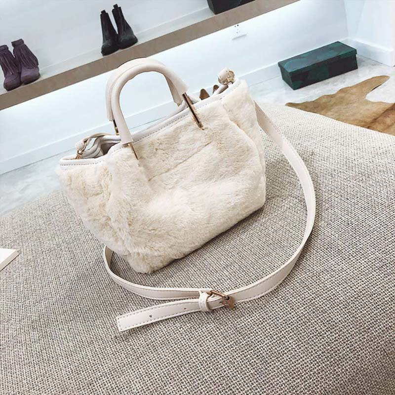 Fashion Women Bag Velvet Bowknot Chain Crossbody Bag Bucket Shoulder Messenger Bags Cotton Soft Clutch Handbags