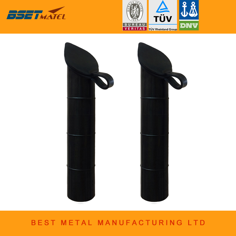 2 pieces Black color 30 degree Fishing Rod holder Inner Sleeve Rod Pod Rubber Cap Tube L ...