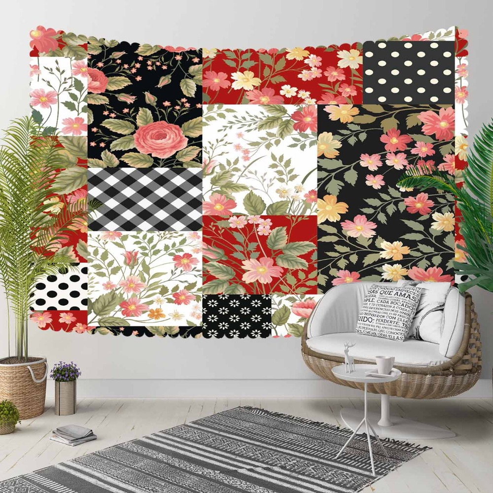 Else Black White Red Geometric Flowers Floral Retro 3D Print Decorative Hippi Bohemian Wall Hanging Landscape Tapestry Wall Art