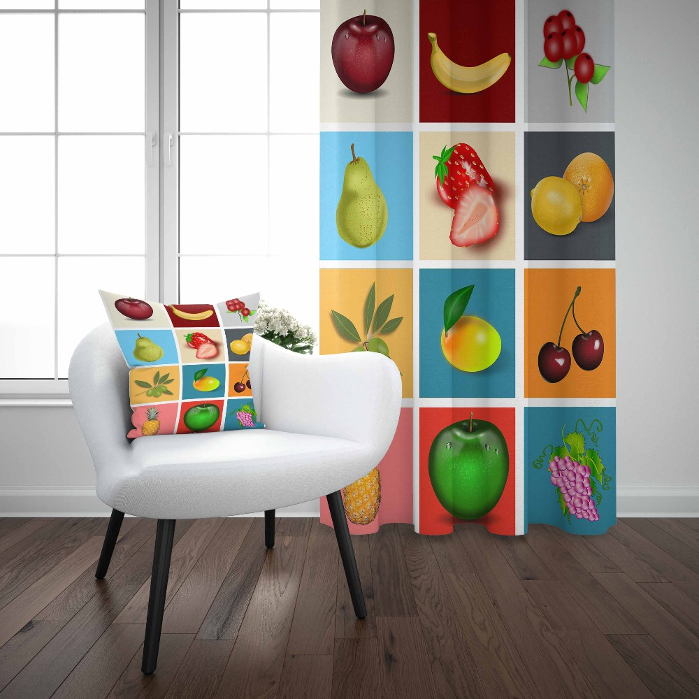 Else Red Strawberry Lemons Apple Banana Patchwork 3d Print Living Room Kitchen Window Panel Set Curtain Combine Gift Pillow Case