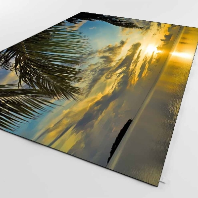 Else Tropical Green Palm Trees Sunset Sea 3d Print Non Slip Microfiber Living Room Decorative Modern Washable Area Rug Mat