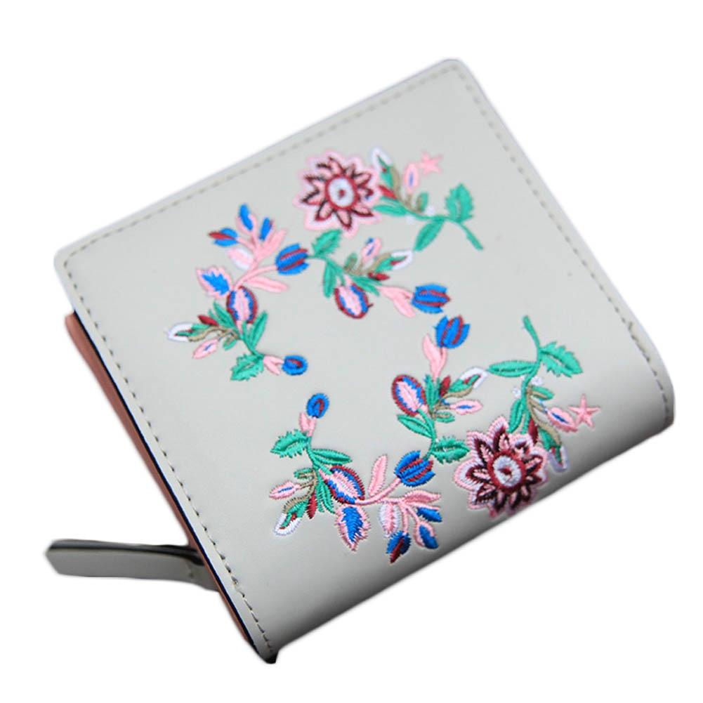 Fashion Cute Wallet Cartoon Embroidery Pattern Retro Purse Short Section PU Leather 2 Fold Multi Card Bit Wallets