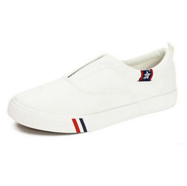 Spring girls' canvas shoes size 40 41 42 43 flat foot student cloth shoe big boy leisure loafers.