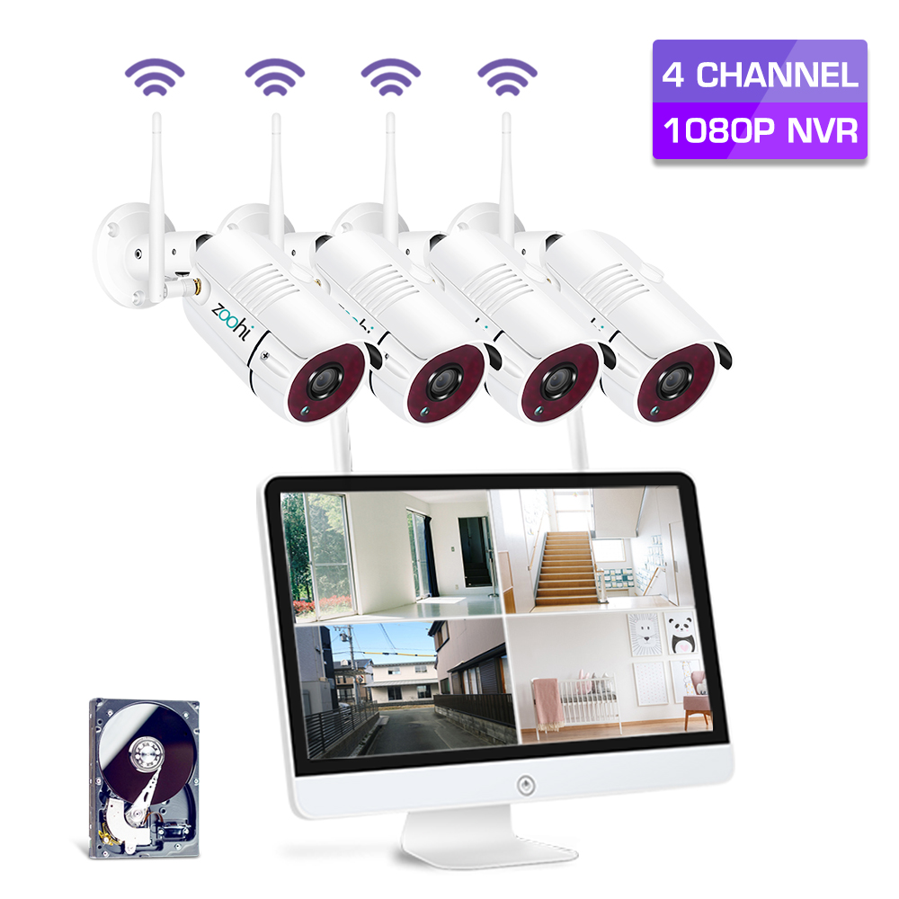 Zoohi Survellance Wireless Cameras System 1080P 15.6 Inch LCD NVR Security Camera System With 2MP Outdoor Wifi IP Camera Kit