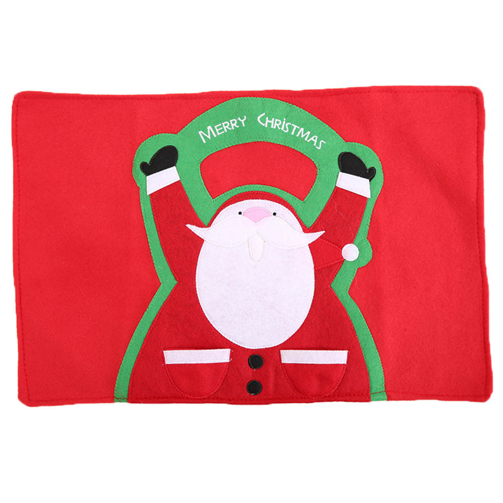 1 Pc home Christmas decoration Santa Claus dinner table mat Insulation pad Tableware Fork napkin holder pocket party table Decor