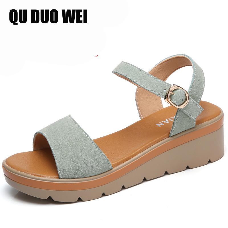 2018 women sandals platform wedges summer shoes flip flops open toe Concise buckle button Solid Ladies Casual comfortable shoes hot 2018 summer new fashion women sandals wedges shoes high heel sandals platform open toe buckle casual shoes
